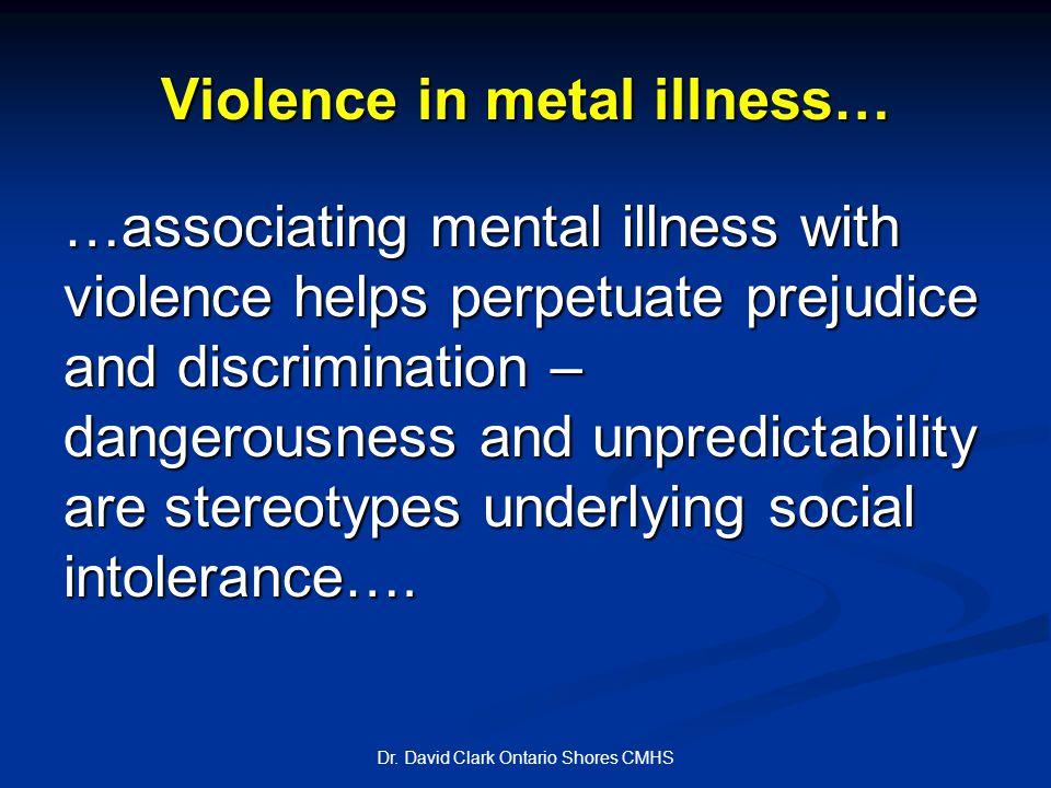 Violence in metal illness… Dr.