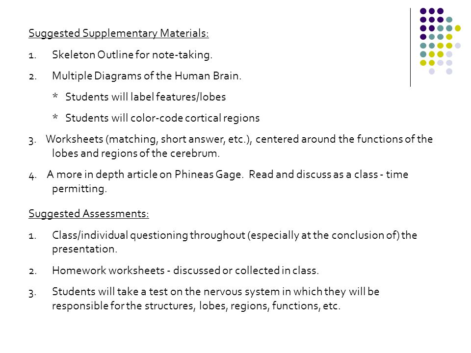 Suggested Supplementary Materials: 1.Skeleton Outline for note-taking.