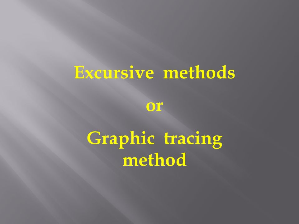 Excursive methods or Graphic tracing method