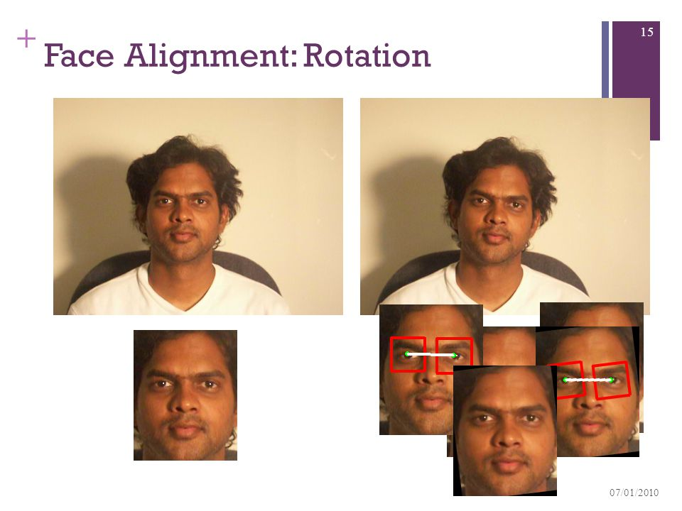 + Face Alignment: Rotation 07/01/2010 15