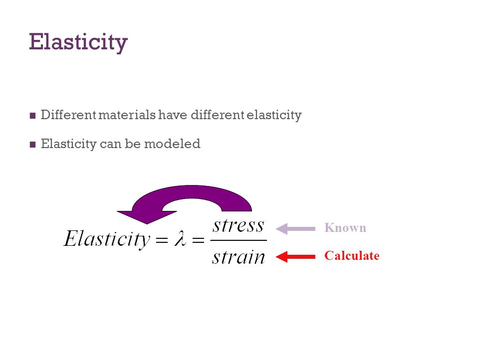 Elasticity Different materials have different elasticity Elasticity can be modeled Known Calculate