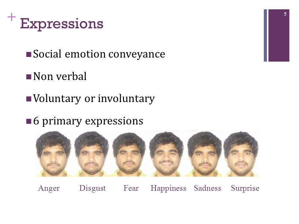 + Expressions Social emotion conveyance Non verbal Voluntary or involuntary 6 primary expressions 5 Anger Disgust Fear Happiness Sadness Surprise