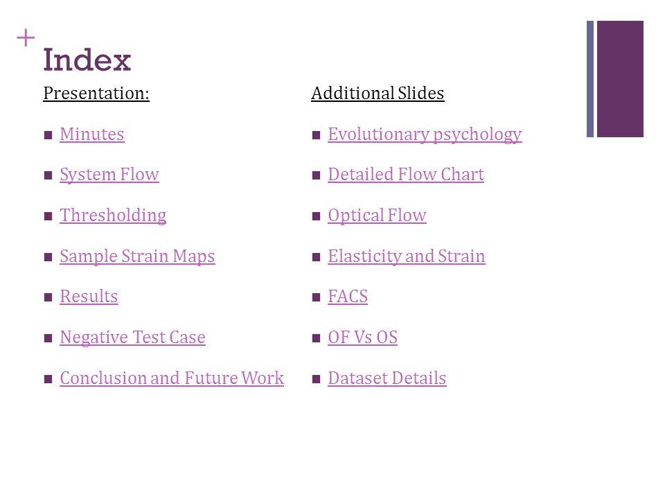 + Index Presentation: Minutes System Flow Thresholding Sample Strain Maps Results Negative Test Case Conclusion and Future Work Additional Slides Evol