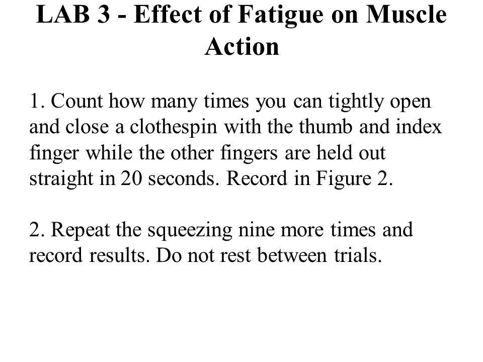 LAB 3 - Effect of Fatigue on Muscle Action 1. Count how many times you can tightly open and close a clothespin with the thumb and index finger while t