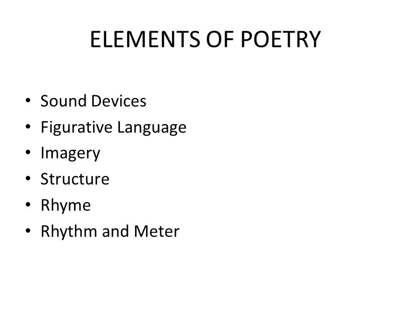 ELEMENTS OF POETRY Sound Devices Figurative Language Imagery Structure Rhyme Rhythm and Meter