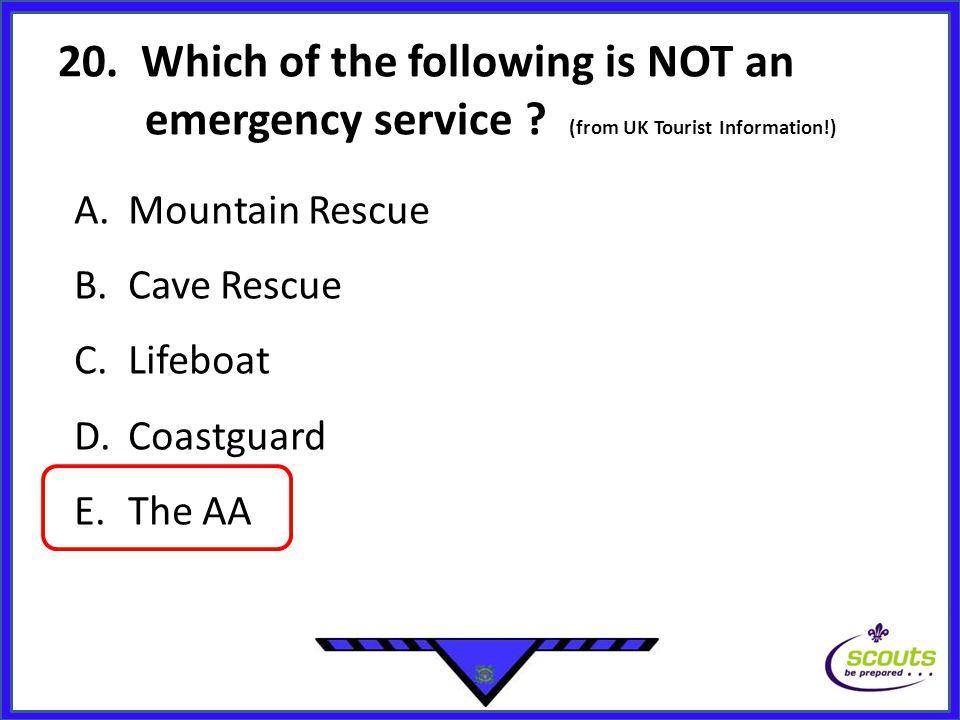 20. Which of the following is NOT an emergency service .