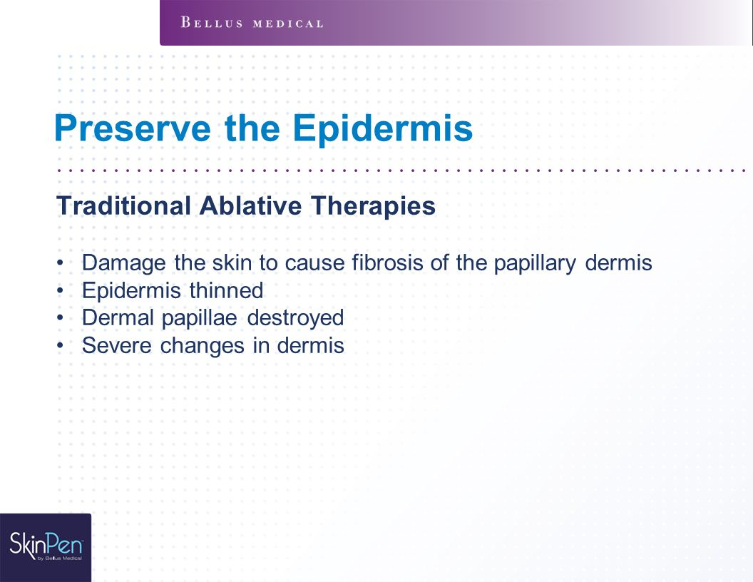 Preserve the Epidermis Traditional Ablative Therapies Damage the skin to cause fibrosis of the papillary dermis Epidermis thinned Dermal papillae destroyed Severe changes in dermis