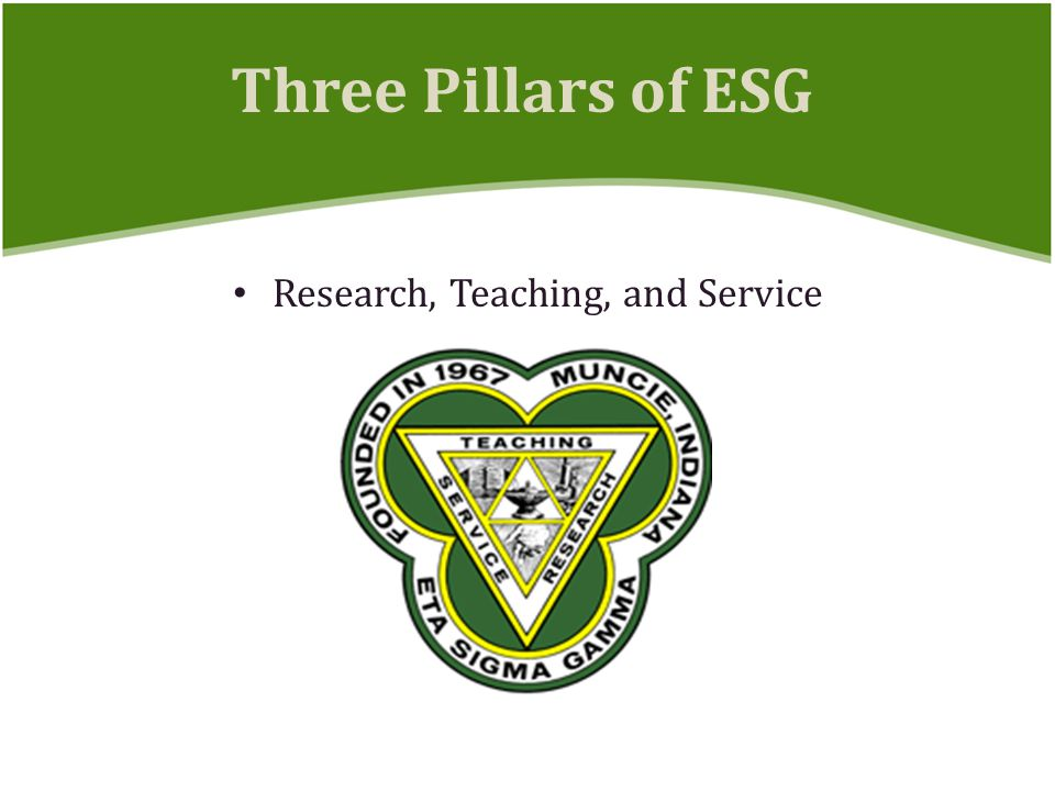 Research, Teaching, and Service Three Pillars of ESG