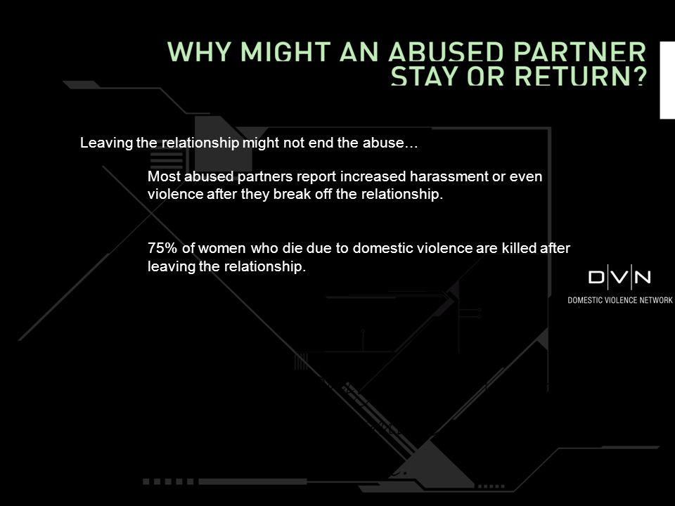 Leaving the relationship might not end the abuse… Most abused partners report increased harassment or even violence after they break off the relationship.