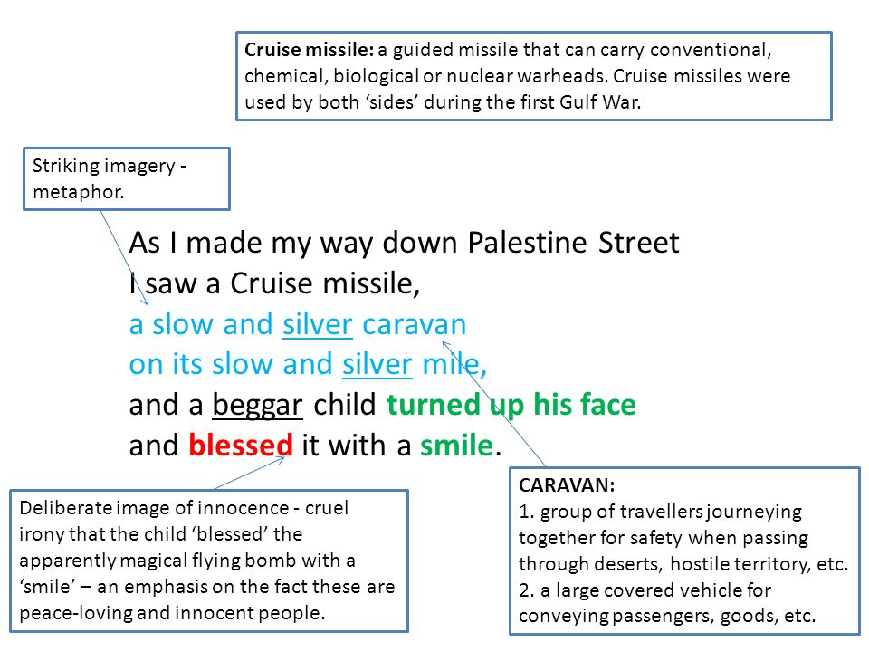 As I made my way down Palestine Street I saw a Cruise missile, a slow and silver caravan on its slow and silver mile, and a beggar child turned up his