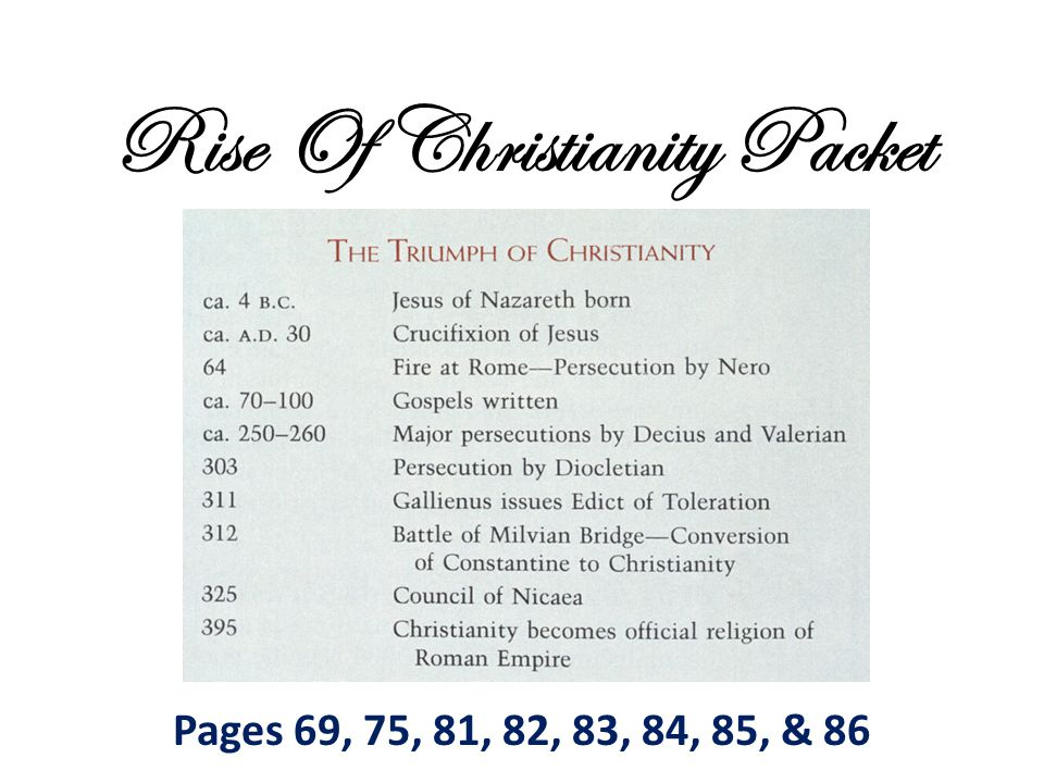 Rise Of Christianity Packet Pages 69, 75, 81, 82, 83, 84, 85, & 86