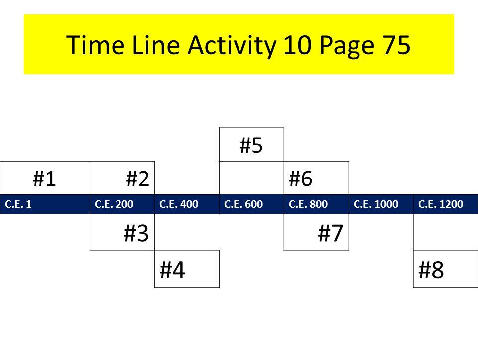 Time Line Activity 10 Page 75 #5 #1#2#6 C.E. 1C.E.