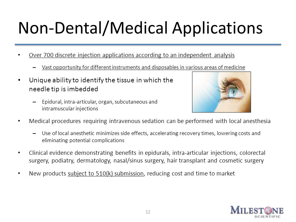 Non-Dental/Medical Applications Over 700 discrete injection applications according to an independent analysis – Vast opportunity for different instrum