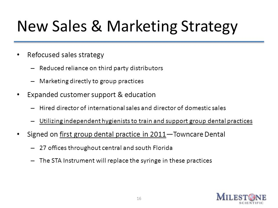 New Sales & Marketing Strategy Refocused sales strategy – Reduced reliance on third party distributors – Marketing directly to group practices Expande
