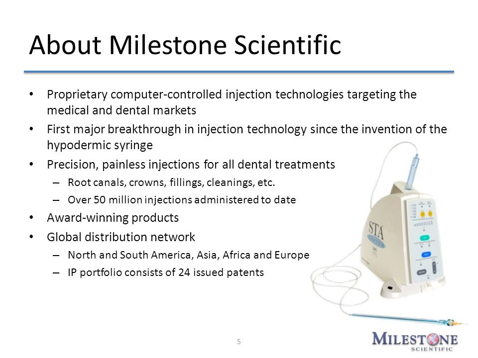 About Milestone Scientific Proprietary computer-controlled injection technologies targeting the medical and dental markets First major breakthrough in