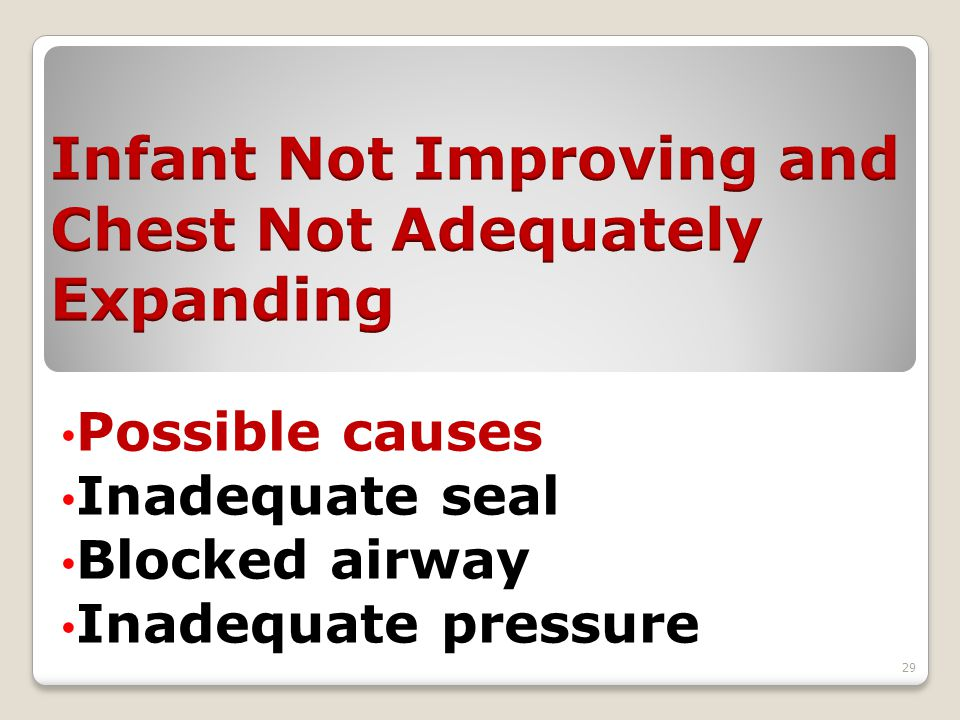 Possible causes Inadequate seal Blocked airway Inadequate pressure 29