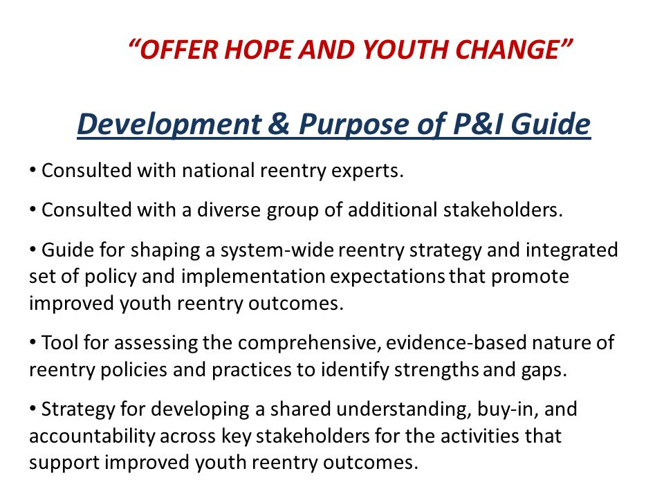 Development & Purpose of P&I Guide Consulted with national reentry experts.