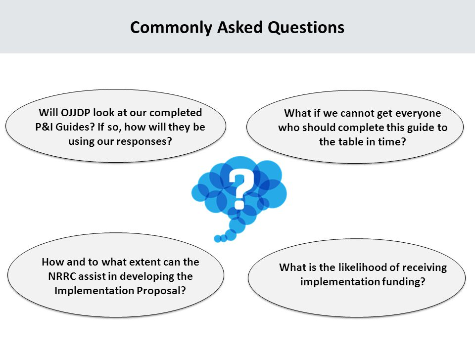 Commonly Asked Questions Will OJJDP look at our completed P&I Guides.