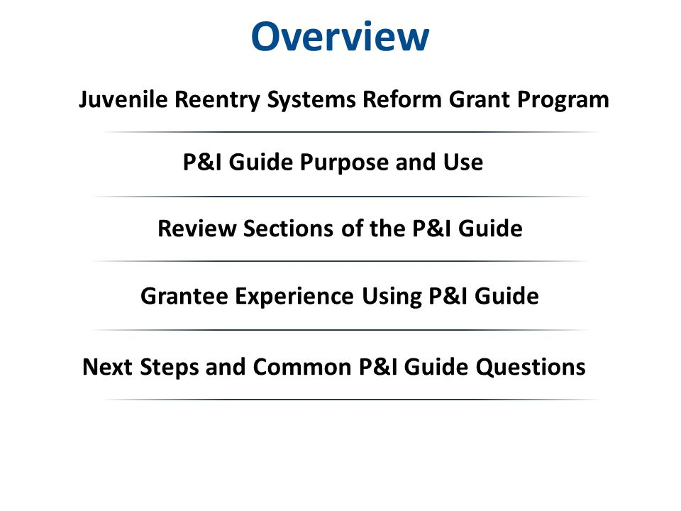 Overview Grantee Experience Using P&I Guide Review Sections of the P&I Guide Next Steps and Common P&I Guide Questions P&I Guide Purpose and Use Juvenile Reentry Systems Reform Grant Program
