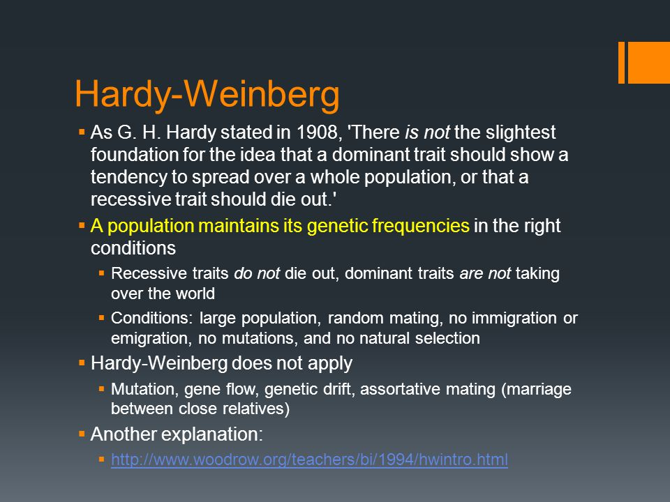Hardy-Weinberg  As G. H.
