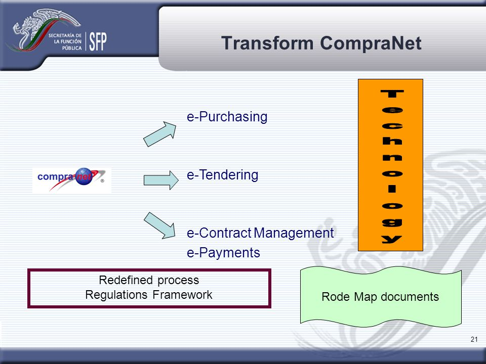 21 Transform CompraNet Redefined process Regulations Framework e-Purchasing e-Tendering e-Contract Management e-Payments Rode Map documents