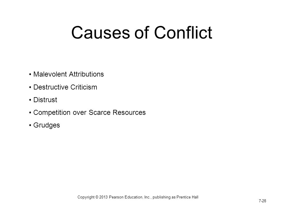 Copyright © 2013 Pearson Education, Inc., publishing as Prentice Hall 7-28 Causes of Conflict Malevolent Attributions Destructive Criticism Distrust C