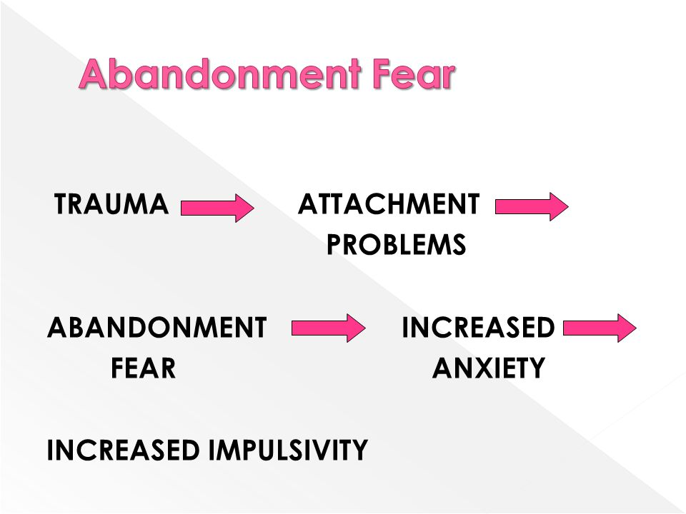 TRAUMA ATTACHMENT PROBLEMS ABANDONMENT INCREASED FEAR ANXIETY INCREASED IMPULSIVITY