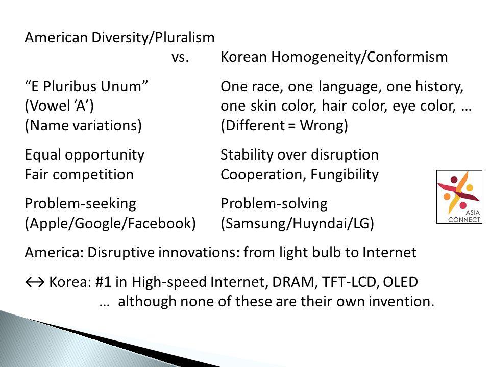 American Diversity/Pluralism vs.