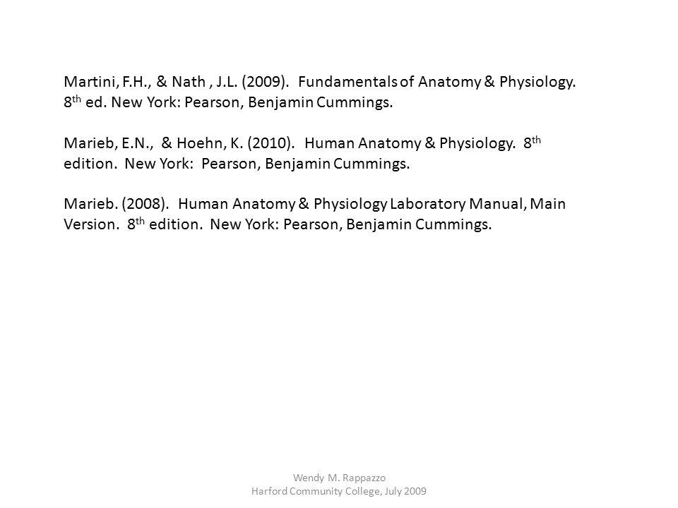 Martini, F.H., & Nath, J.L. (2009). Fundamentals of Anatomy & Physiology. 8 th ed. New York: Pearson, Benjamin Cummings. Marieb, E.N., & Hoehn, K. (20