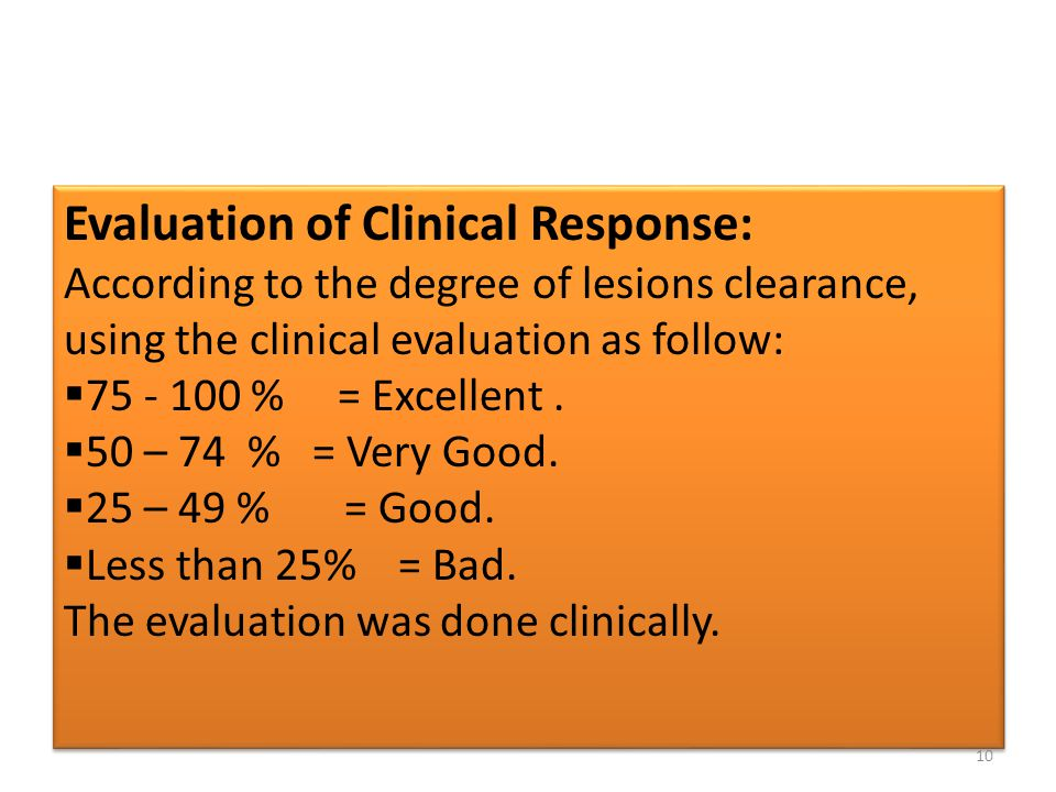 Evaluation of Clinical Response: According to the degree of lesions clearance, using the clinical evaluation as follow:  75 - 100 % = Excellent.  50