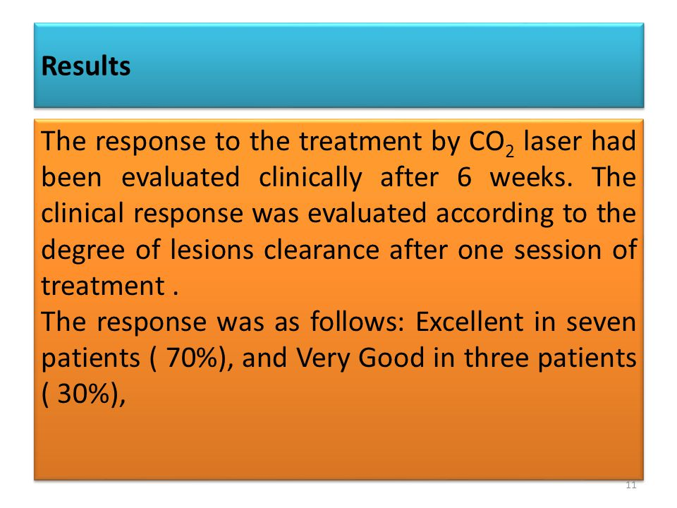 The response to the treatment by CO 2 laser had been evaluated clinically after 6 weeks.