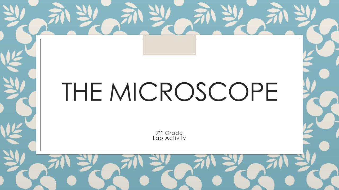 THE MICROSCOPE 7 th Grade Lab Activity