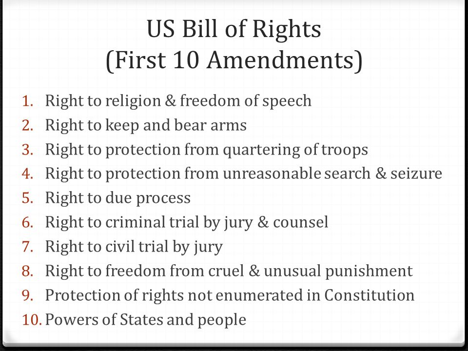 US Bill of Rights (First 10 Amendments) 1. Right to religion & freedom of speech 2.
