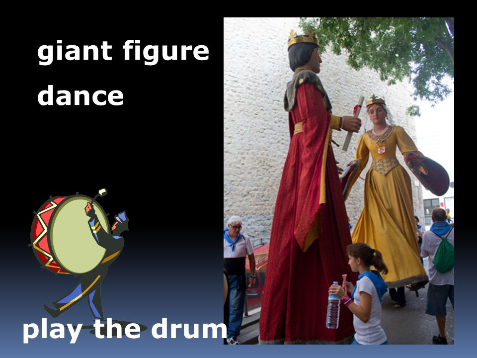 giant figure dance play the drum