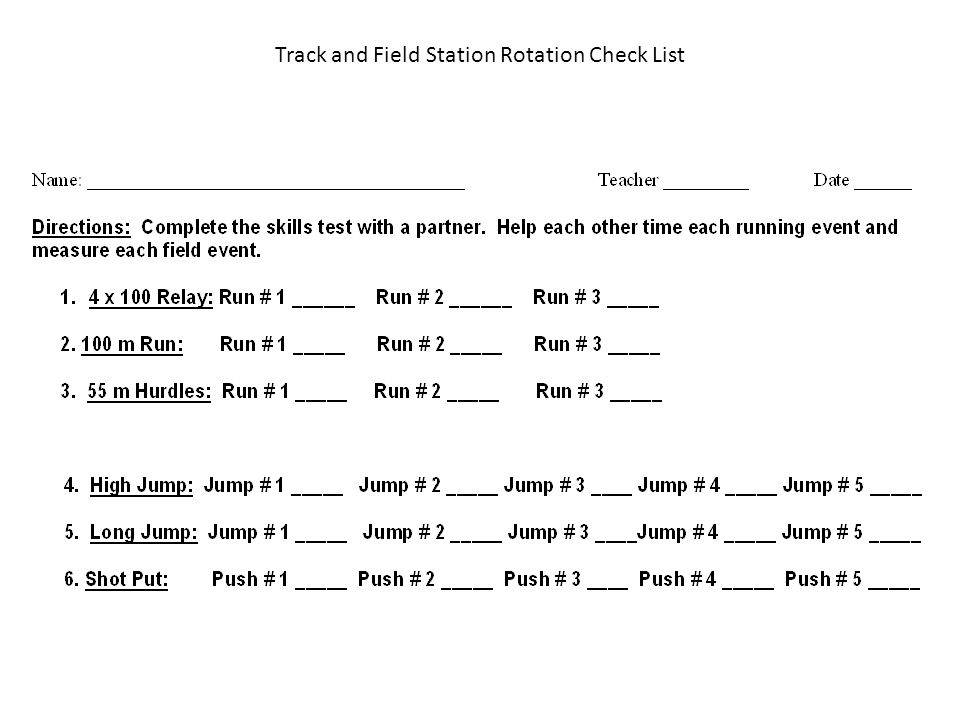 Track and Field Station Rotation Check List