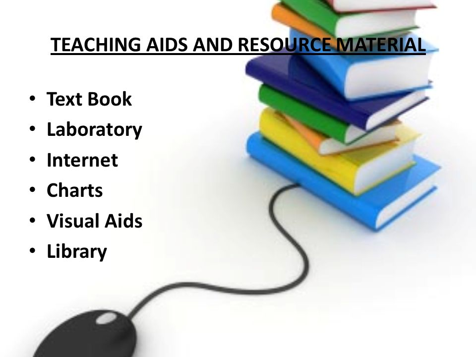 TEACHING AIDS AND RESOURCE MATERIAL Text Book Laboratory Internet Charts Visual Aids Library