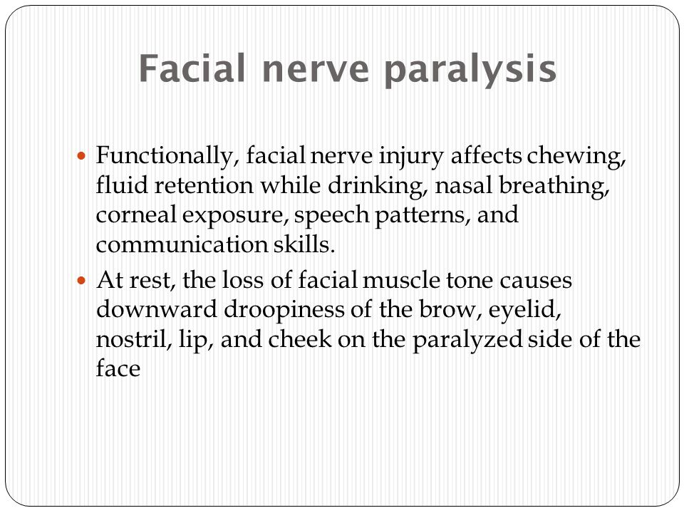 Facial nerve paralysis Functionally, facial nerve injury affects chewing, fluid retention while drinking, nasal breathing, corneal exposure, speech pa