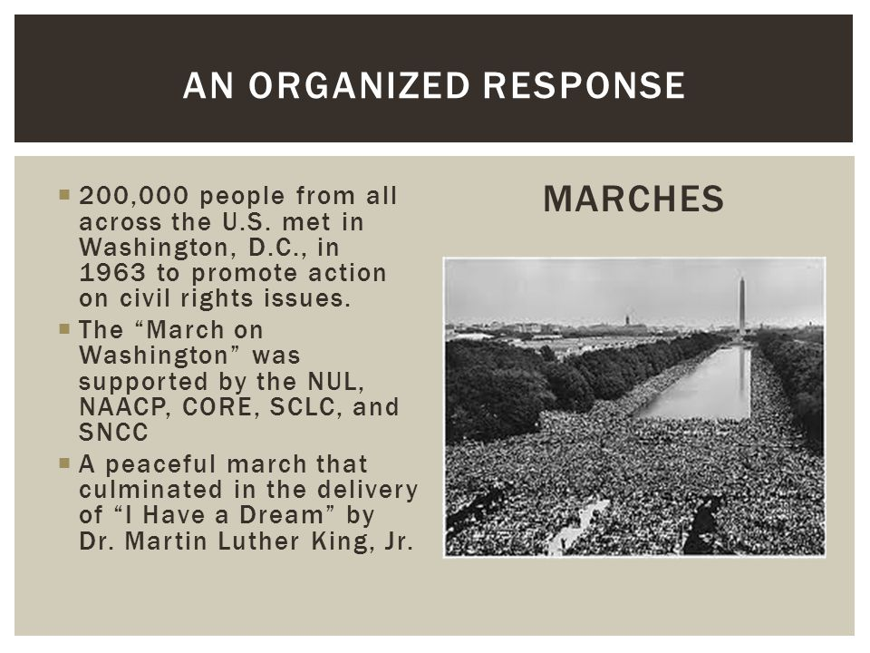 """ 200,000 people from all across the U.S. met in Washington, D.C., in 1963 to promote action on civil rights issues.  The """"March on Washington"""" was s"""