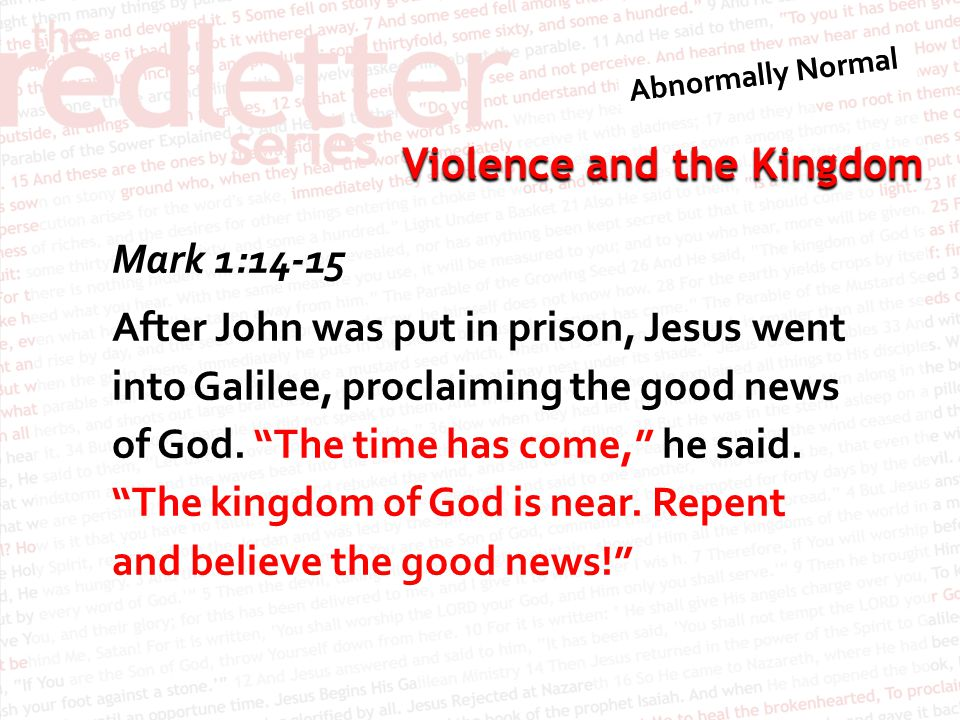 Violence and the Kingdom Therefore God exalted him to the highest place and gave him the name that is above every name, that at the name of Jesus every knee should bow, in heaven and on earth and under the earth, and every tongue confess that Jesus Christ is Lord, to the glory of God the Father.