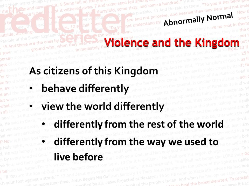 Violence and the Kingdom 1 Peter 2:21–23 21 To this you were called, because Christ suffered for you, leaving you an example, that you should follow in his steps.
