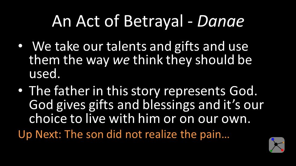 An Act of Betrayal - Danae We take our talents and gifts and use them the way we think they should be used.