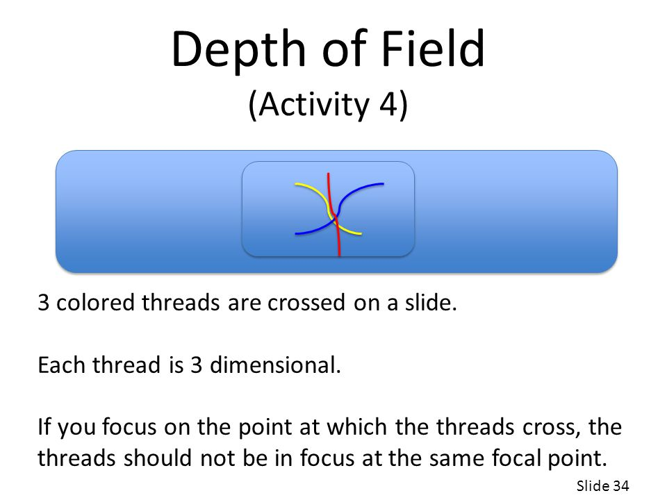 Depth of Field (Activity 4) Slide 34 3 colored threads are crossed on a slide.