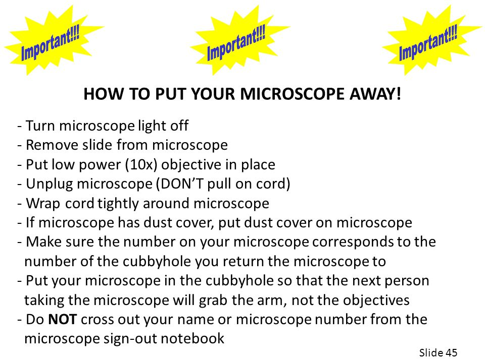 HOW TO PUT YOUR MICROSCOPE AWAY.