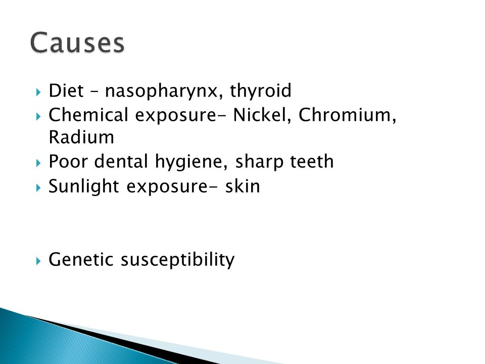  Diet – nasopharynx, thyroid  Chemical exposure- Nickel, Chromium, Radium  Poor dental hygiene, sharp teeth  Sunlight exposure- skin  Genetic susceptibility