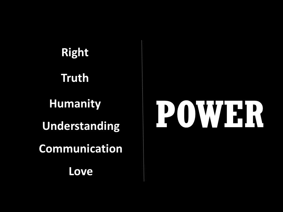 Right Truth Humanity Understanding Communication Love POWER