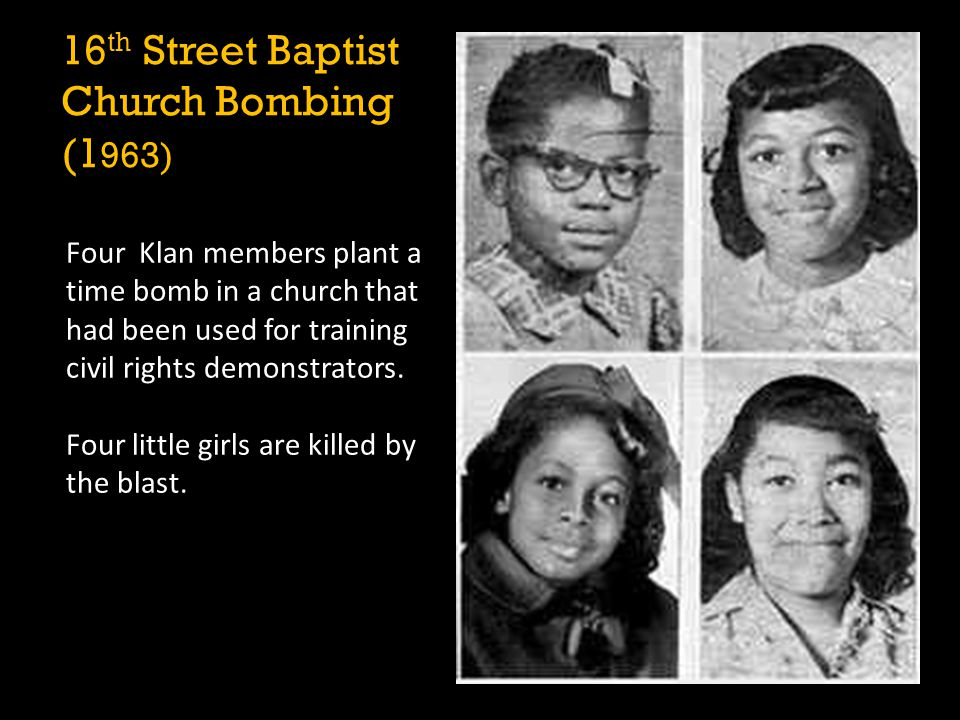 Four Klan members plant a time bomb in a church that had been used for training civil rights demonstrators. Four little girls are killed by the blast.