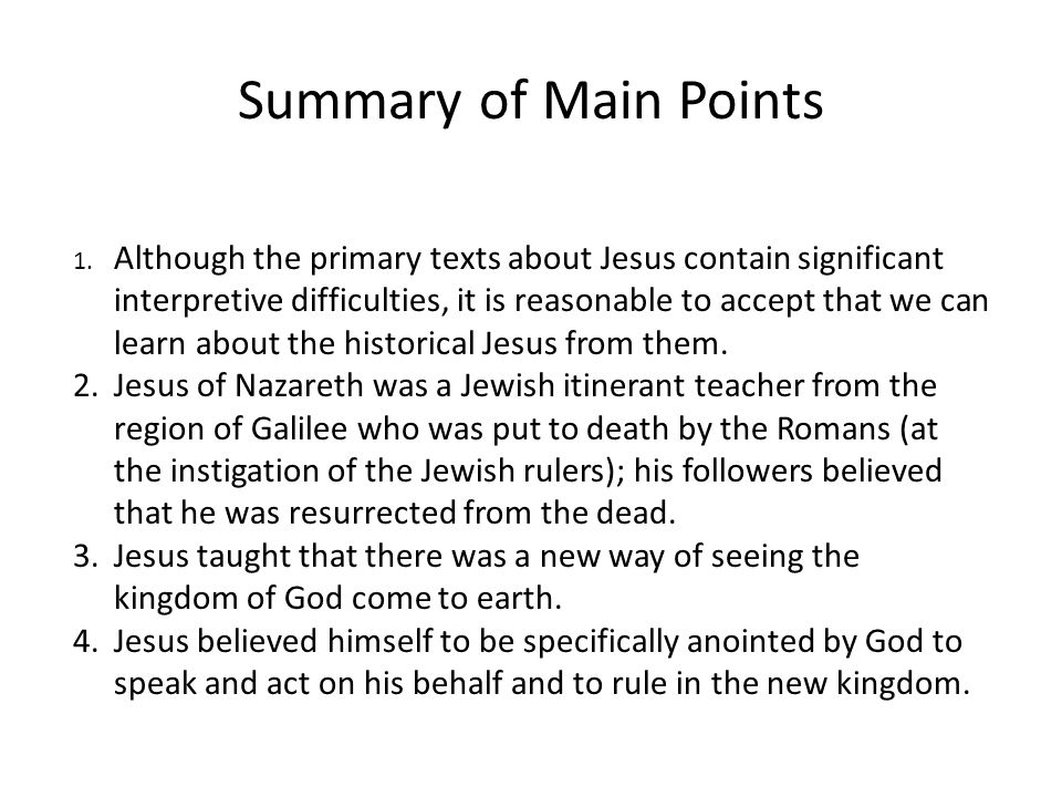 Summary of Main Points 1.