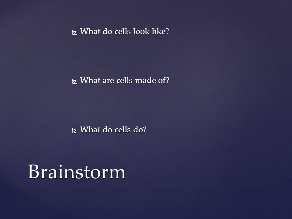  What do cells look like?  What are cells made of?  What do cells do? Brainstorm