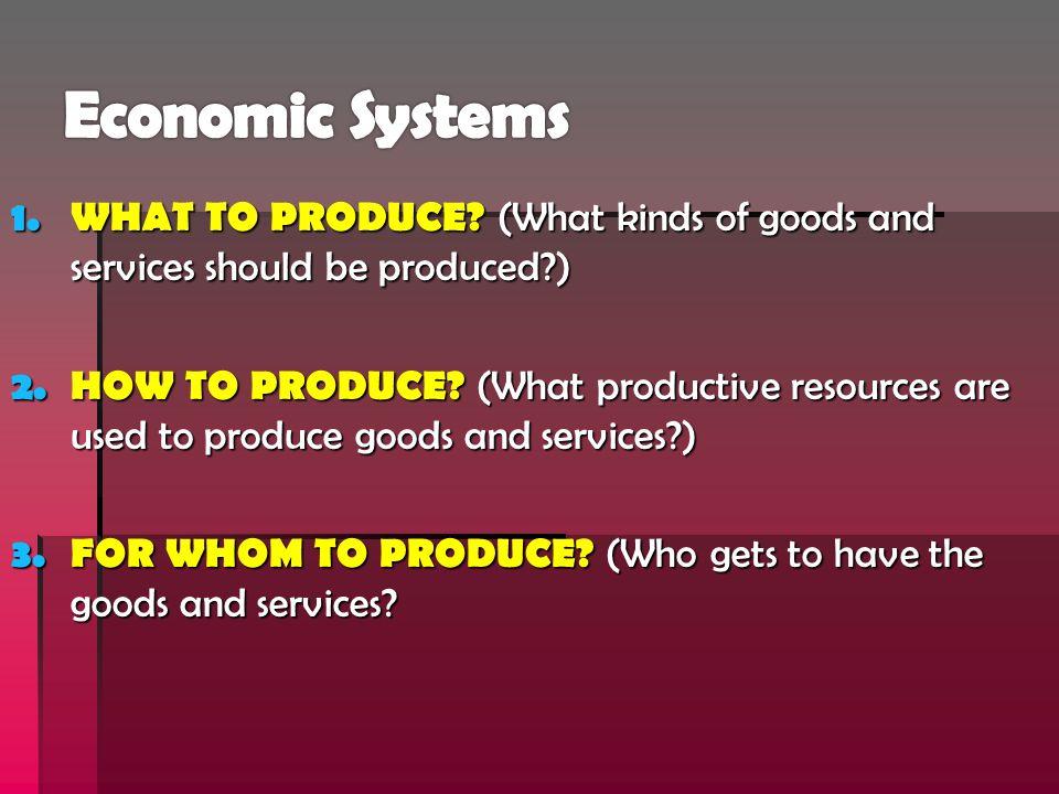 Three Types of Economic Systems:  1.Traditional Economy  2.