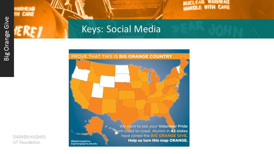 Keys: Social Media Big Orange Give DARREN HUGHES UT Foundation